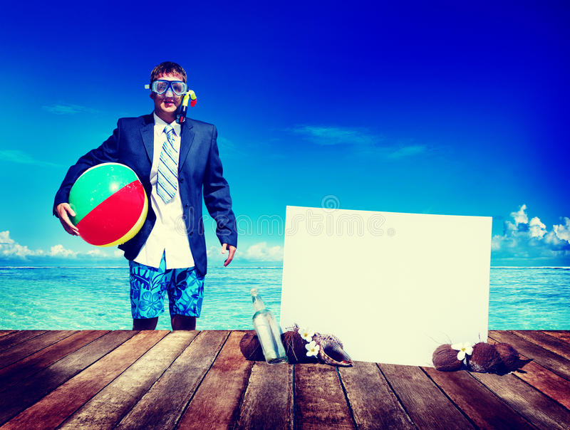 Businessman Business Travel Summer Beach Vacation Concept stock images