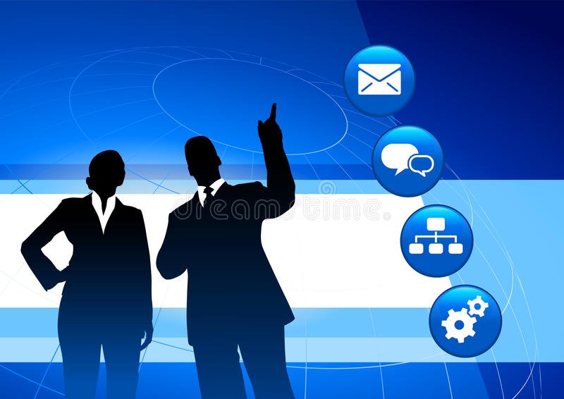 Businessman and Businesswoman on Blue Background vector illustration
