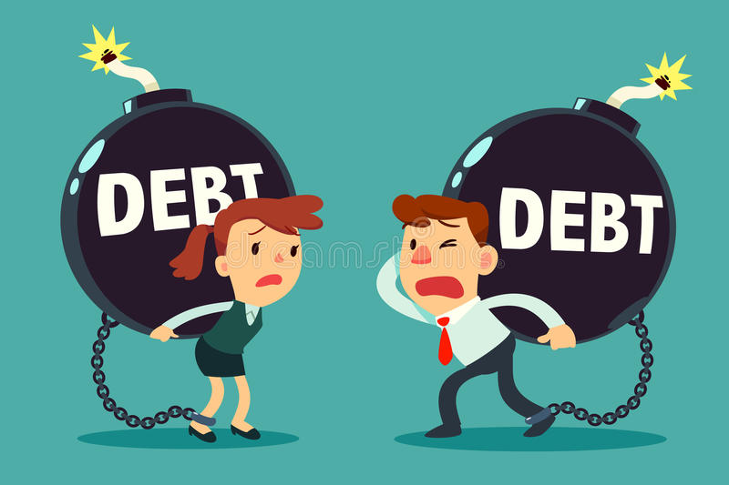 Businessman and businesswoman carry debt time bomb stock illustration