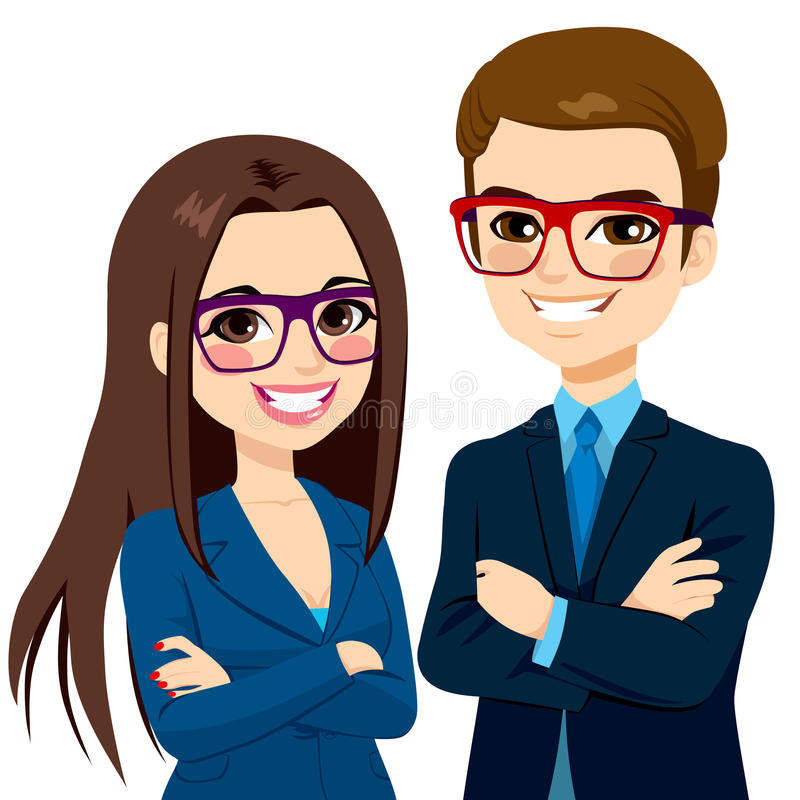 Businessman and Businesswoman Crossed Arms stock illustration