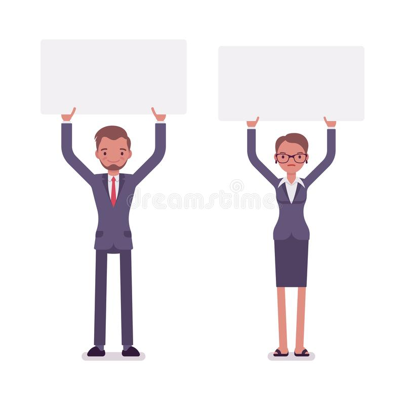 Businessman and businesswoman with empty white boards, copy space. Businessman and businesswoman holding high empty white boards, expressing point of view stock illustration