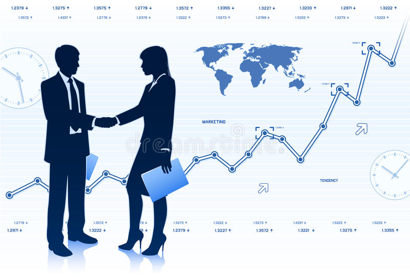 Businessman with businesswoman stock photography