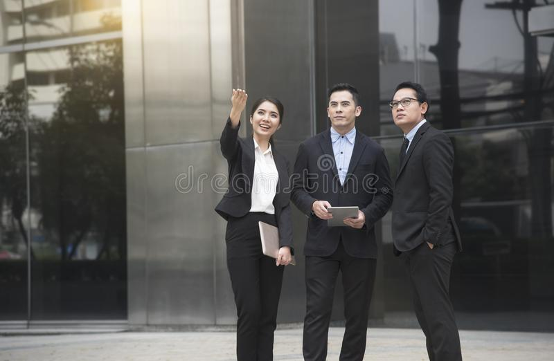 Businessman and businesswoman partner consulting and discussing royalty free stock image