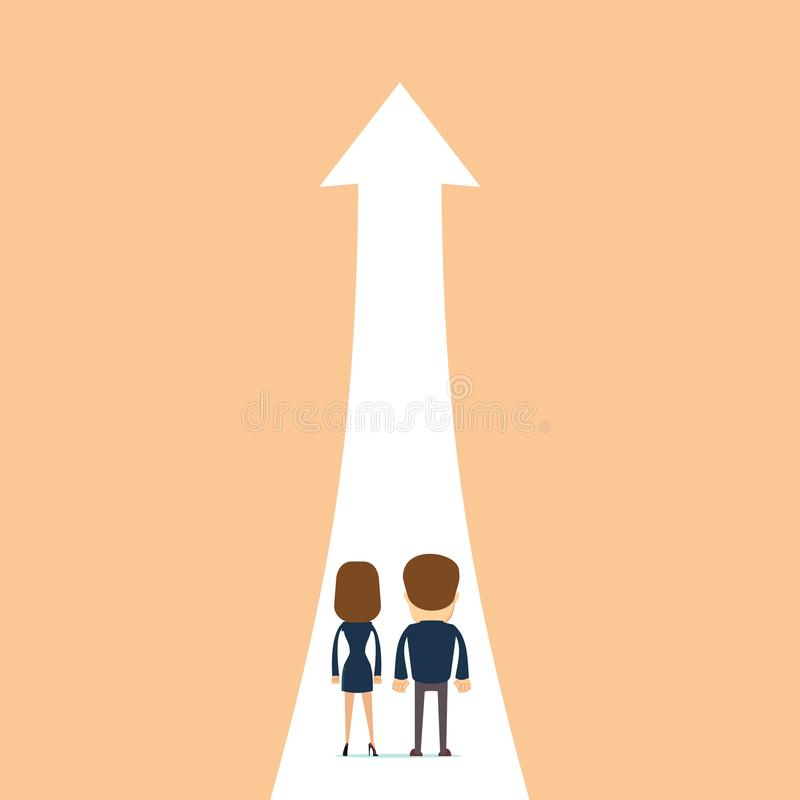Businessman and businesswoman on path to higher position. Business growth vector concept with businessman and businesswoman on path to higher position. Symbol vector illustration