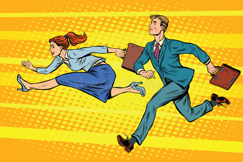 Businessman and businesswoman running competition stock illustration