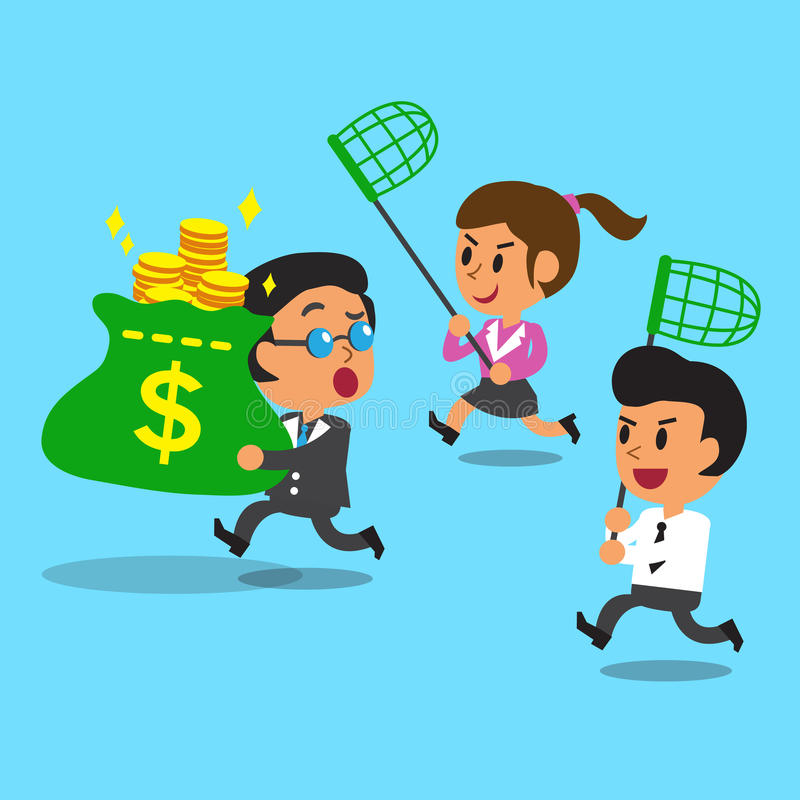 Businessman and businesswoman running to catch money bag from boss. For design royalty free illustration