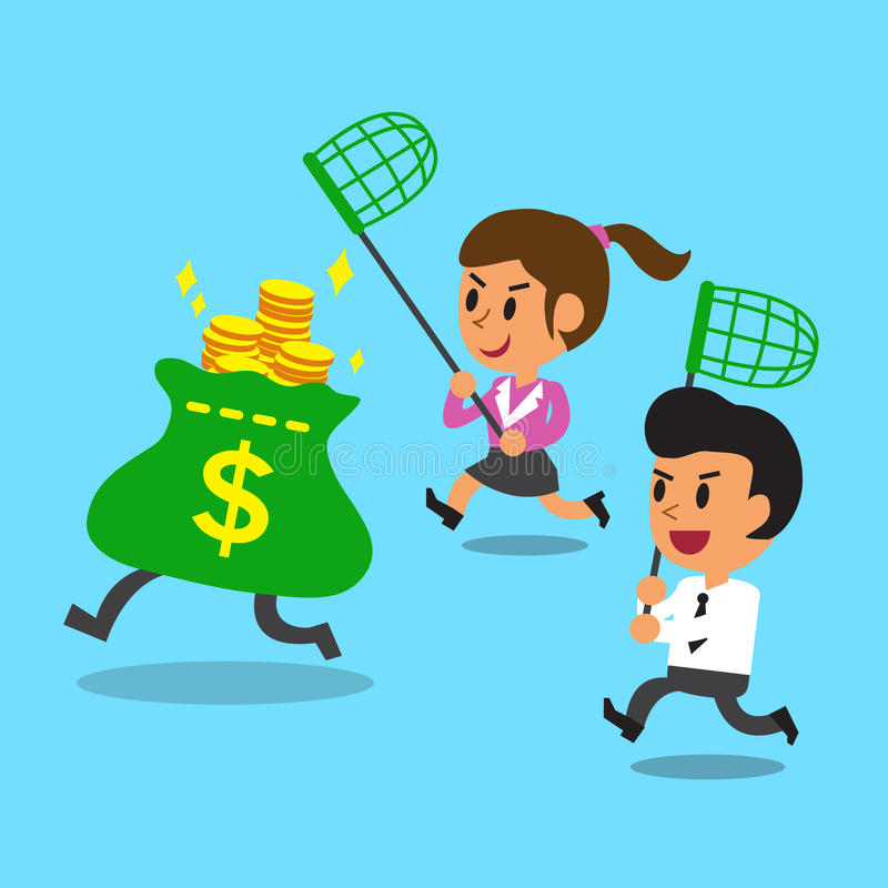 Businessman and businesswoman running to catch money bag. For design stock illustration