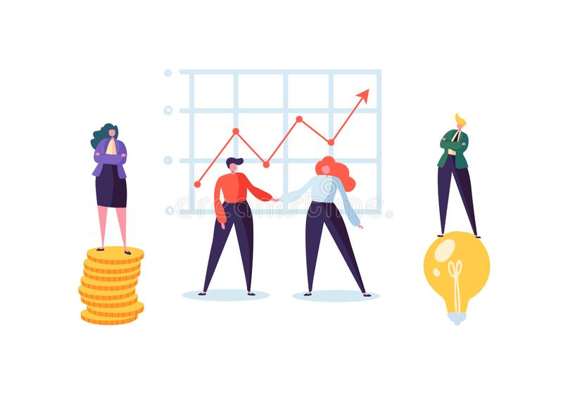 Businessman and Businesswoman Shaking Hands. Partnership Deal Handshake, Meeting Agreement Concept. Characters stock illustration