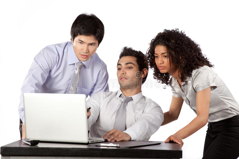 Businessman and Businesswoman Using Laptop stock images