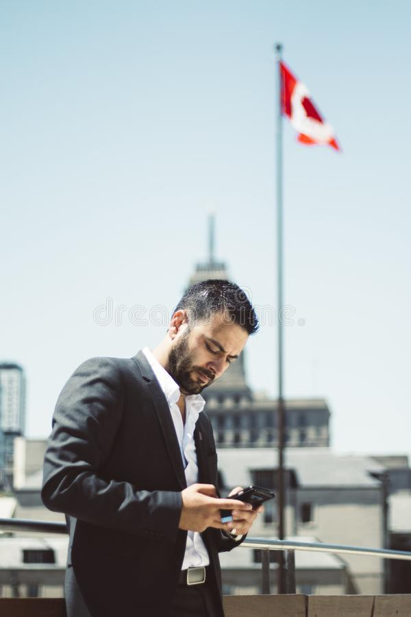 Businessman, Busy, Canada stock image