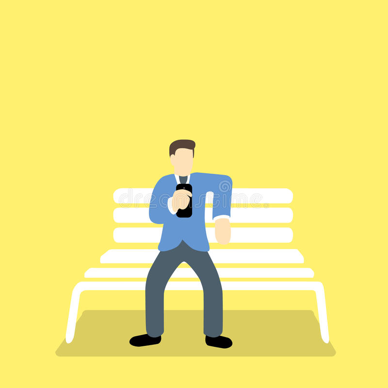 Businessman busy texting with mobile phone during break time royalty free illustration
