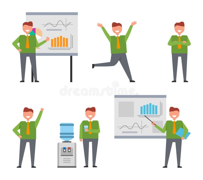Businessman Busy at Work Set of Icons on White. Cheerful businessman busy at work set of icons on white background. Isolated vector illustration of neatly stock illustration