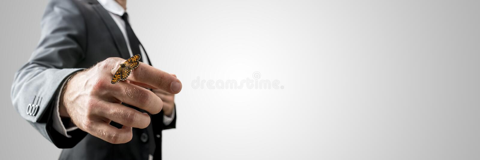 Businessman with a butterfly on his finger royalty free stock photography