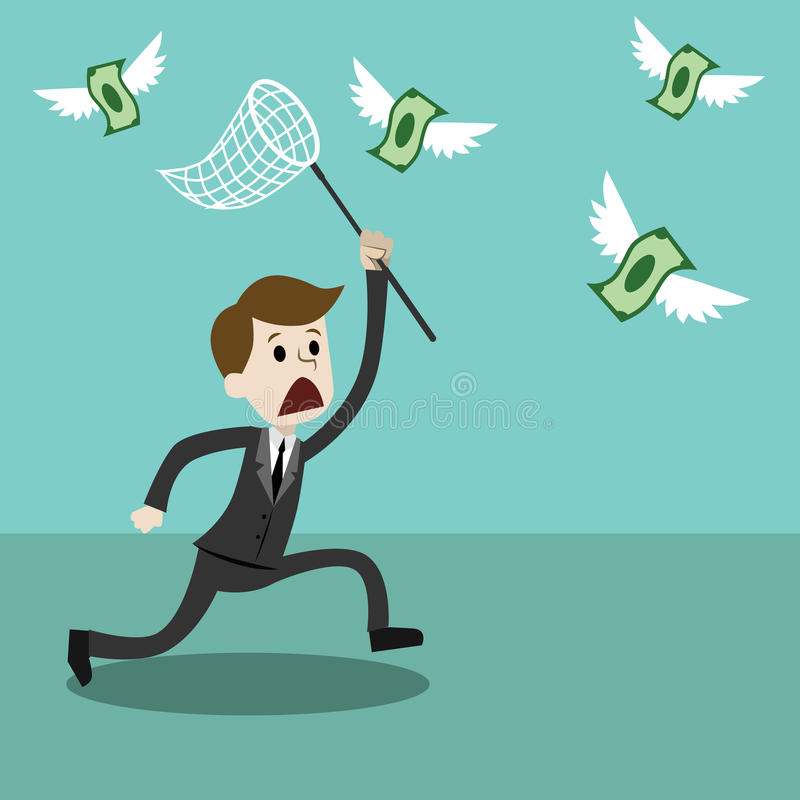 Businessman with a butterfly net trying to catch money. Businessman and manager. Moneymaking. Cartoon Vector Illustration vector illustration