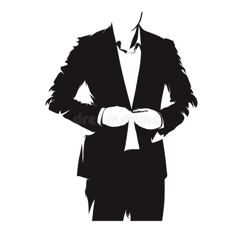 Businessman buttoning his suit, formal dress royalty free illustration
