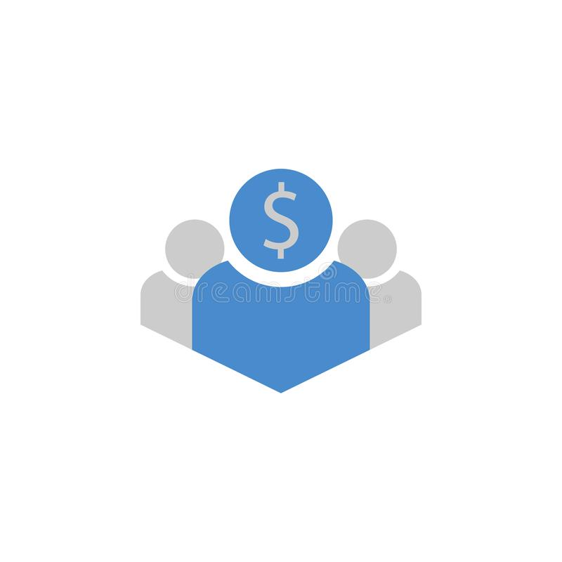 Businessman, buyer, investor two color blue and gray icon royalty free illustration