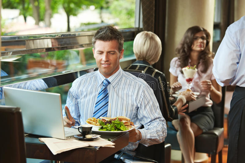 Businessman in cafe stock images