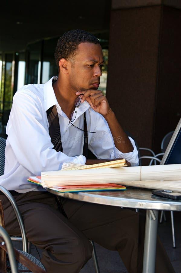 Businessman at a Cafe royalty free stock photos