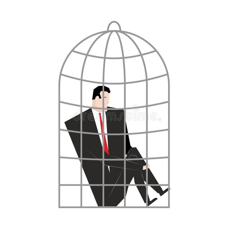 Businessman in Cage. Boss is trapped. Vector illustration. royalty free illustration