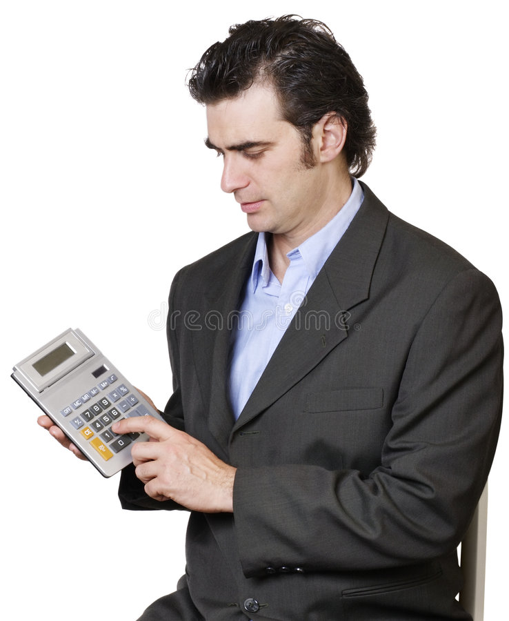 Businessman calculating royalty free stock photography