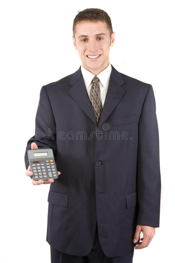 Businessman With Calculator Royalty Free Stock Image