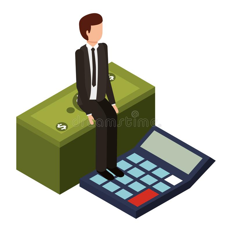 Businessman with calculator math and stack bill dollar. Vector illustration design stock illustration