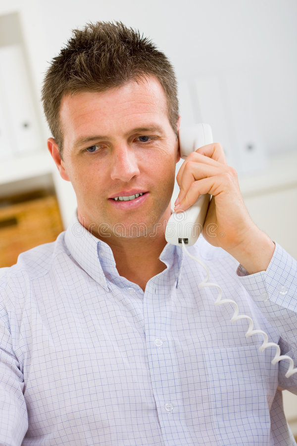Businessman calling on phone royalty free stock photos