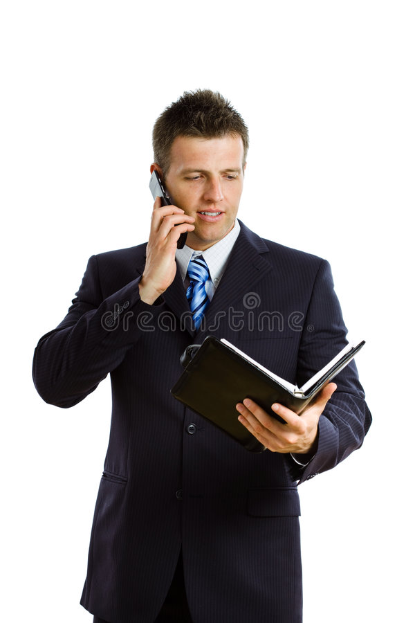 Businessman calling on phone isolated royalty free stock photos