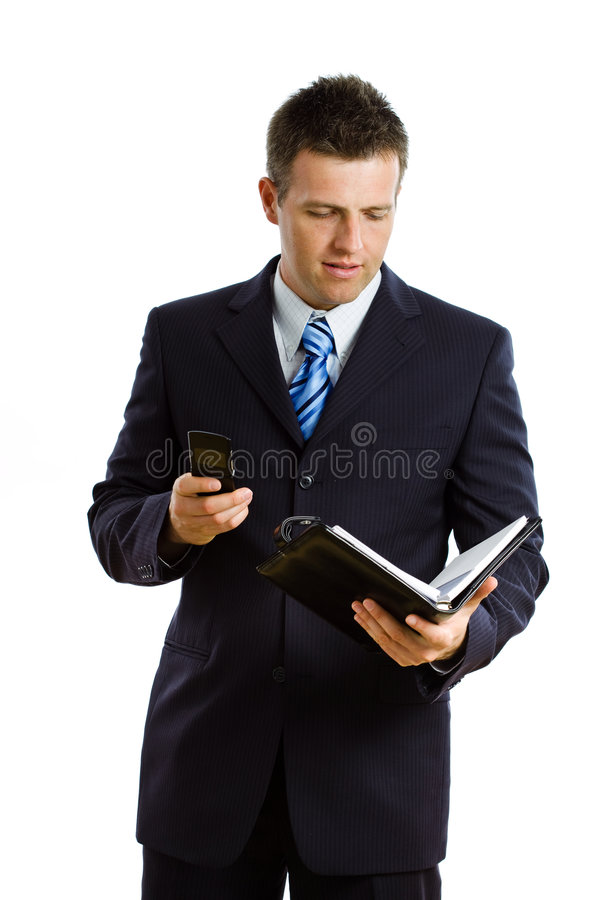Businessman calling on phone isolated stock image