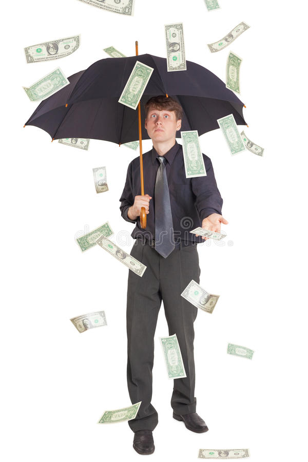 Download Businessman Came Under Rain Of Money Stock Photo - Image: 15401090