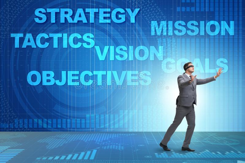 The businessman cannot understand corporate strategy stock photo