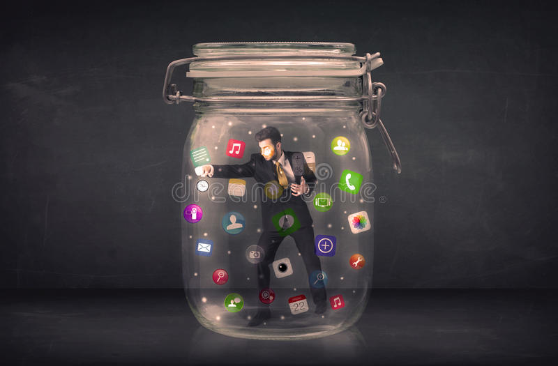 Download Businessman Captured In A Glass Jar With Colourful App Icons Con Stock Image - Image of person, background: 51068899