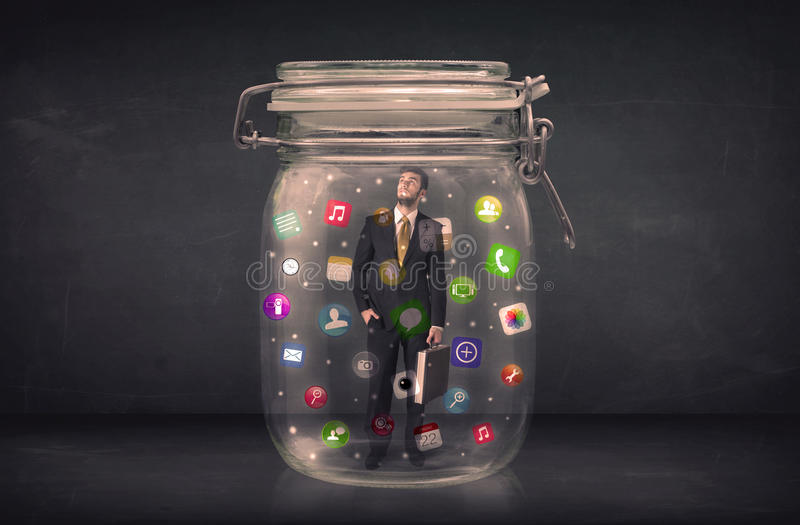 Download Businessman Captured In A Glass Jar With Colourful App Icons Con Stock Photo - Image of connection, media: 56998126