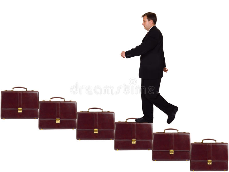 Businessman On Career Staircase Royalty Free Stock Photography