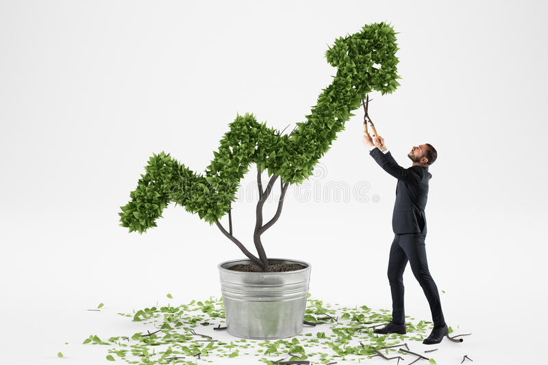 Businessman cares for a big plant shaped as an arrow royalty free stock images