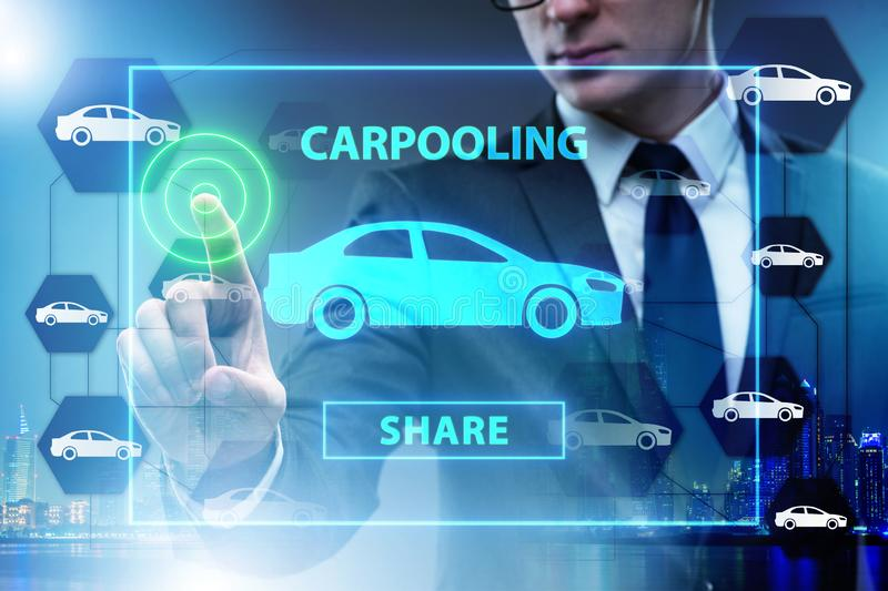 The businessman in carpooling and carsharing concept stock images