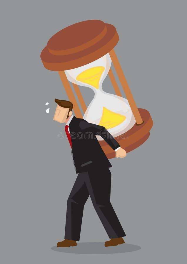 Businessman Carries a Giant Hourglass on his Back Cartoon Vector. Cartoon businessman piggybacks a heavy giant hourglass on his back and feeling tired. Creative vector illustration