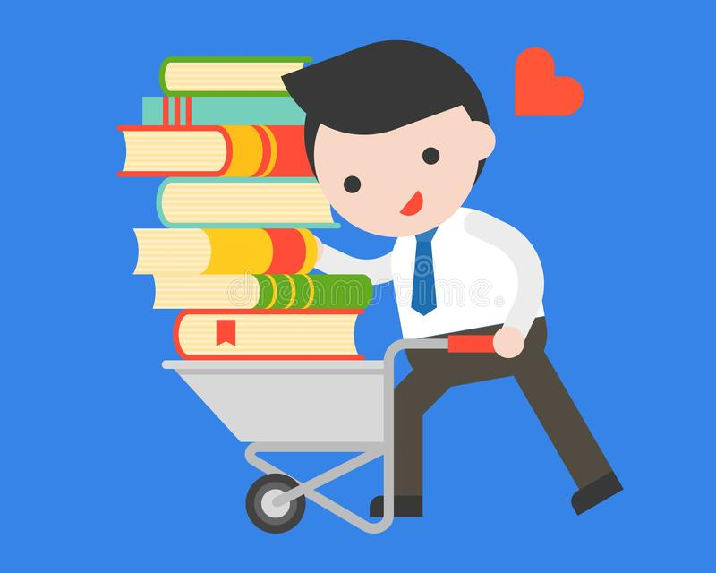 Businessman carry a pile of book with cart, world book day concept stock illustration