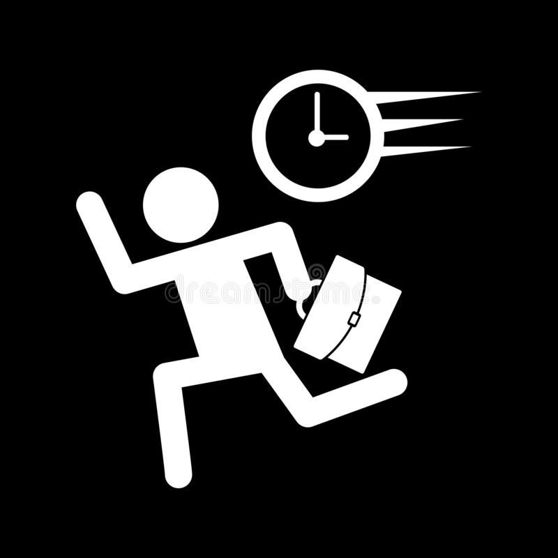 A businessman carrying a bag and running with time to follow the web icons and symbols on a black background. And flat stock illustration