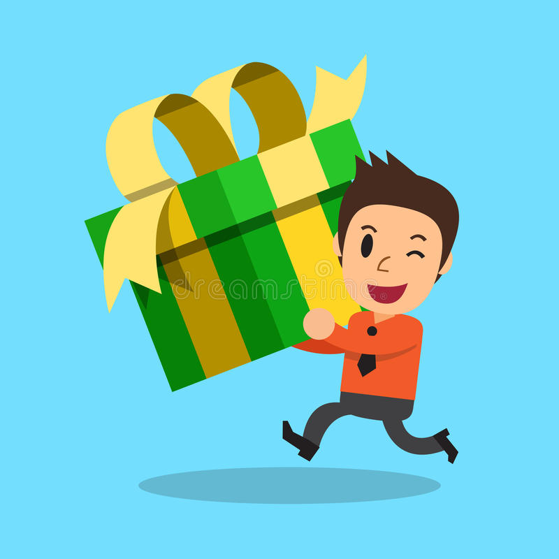 Businessman carrying big gift box stock illustration
