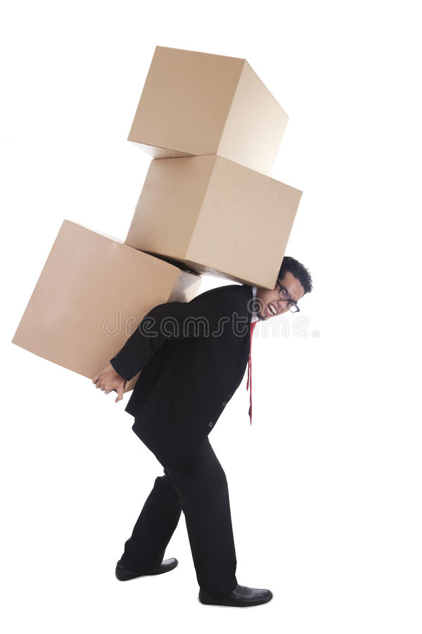 Download Businessman carrying boxes stock photo. Image of moving - 23445270