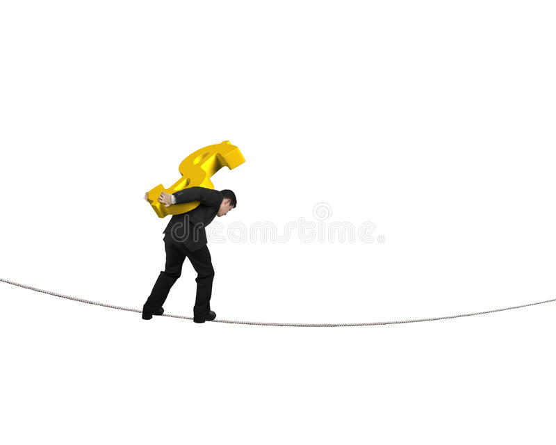 Businessman carrying golden dollar sign balancing on tightrope royalty free stock image