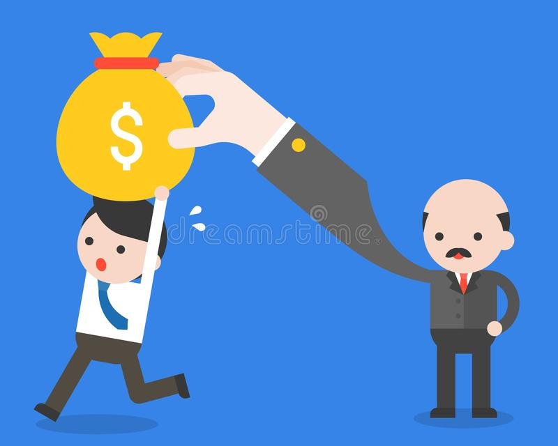Businessman carrying money bag run away from his boss, business vector illustration