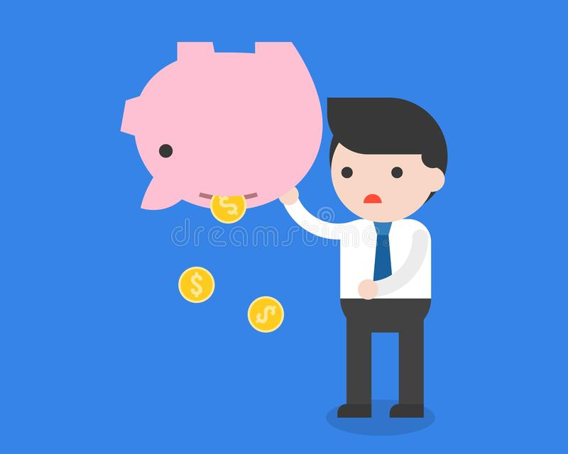 Businessman carrying piggy bank and gold coins, failure saving.