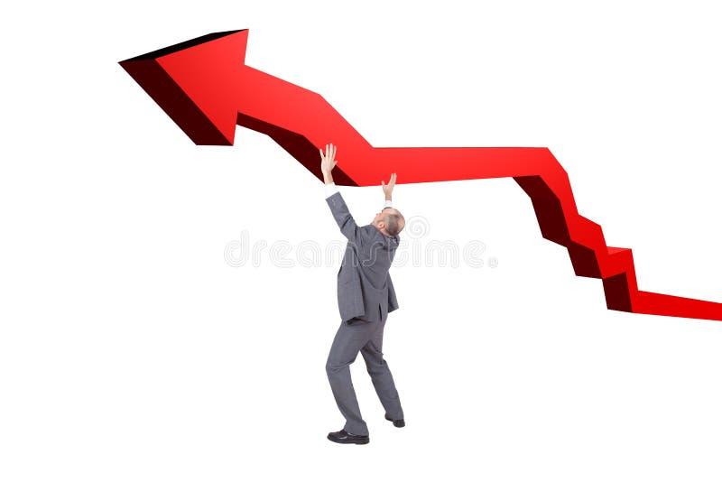 Businessman holding a grpah arrow stock photos
