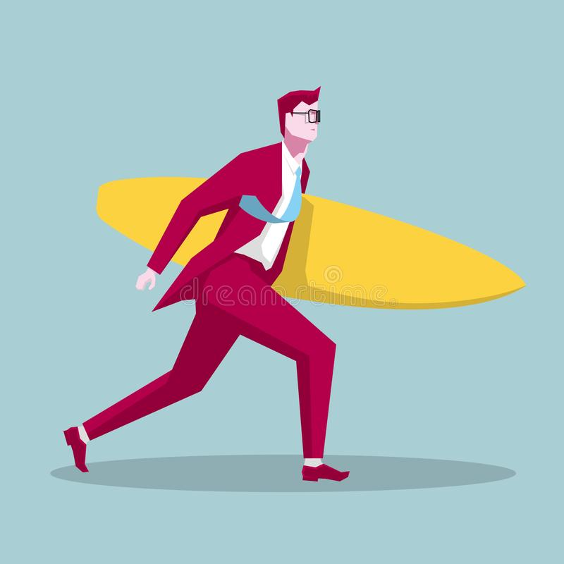 Businessman carrying a surfboard. vector illustration