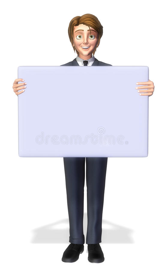 Businessman Cartoon Holding A Sign 3 Royalty Free Stock Photos