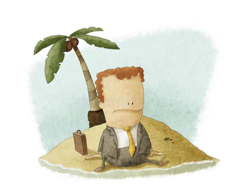 Businessman castaway on island stock illustration