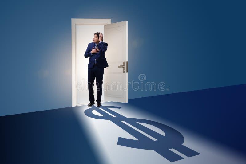 The businessman casting shadow in dollar shape royalty free illustration