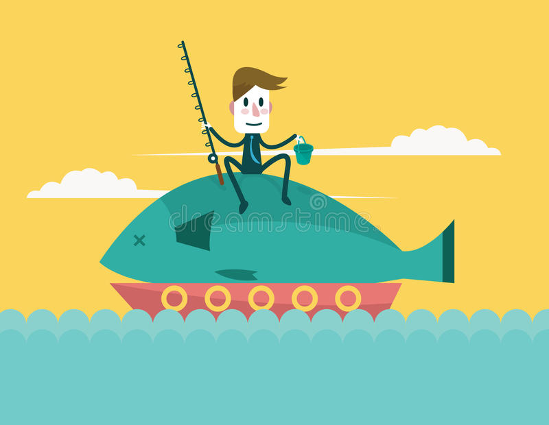 Businessman catch big fish. Business and successful concepts. flat design vector illustration royalty free illustration